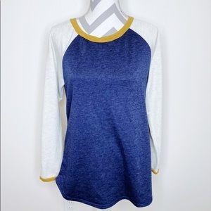 NWOT🎉 Roolee Color Block Blue Mustard Long Sleeve
